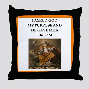 Curling joke Throw Pillow